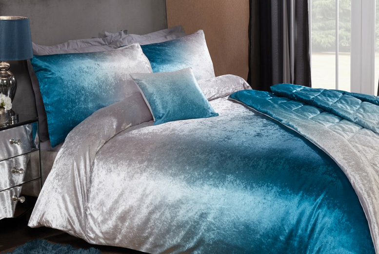 From £11 (from Five Minutes More) for an ombre velvet bedding set – choose from six options