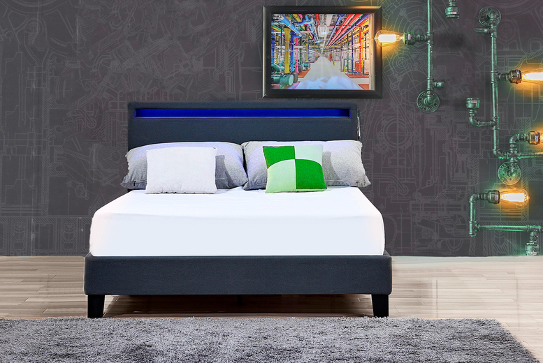 From £79 instead of £170 (from CosmoBuy) for a modern LED headboard bed frame, £99 for a double or £119 for a king size – save up to 54%