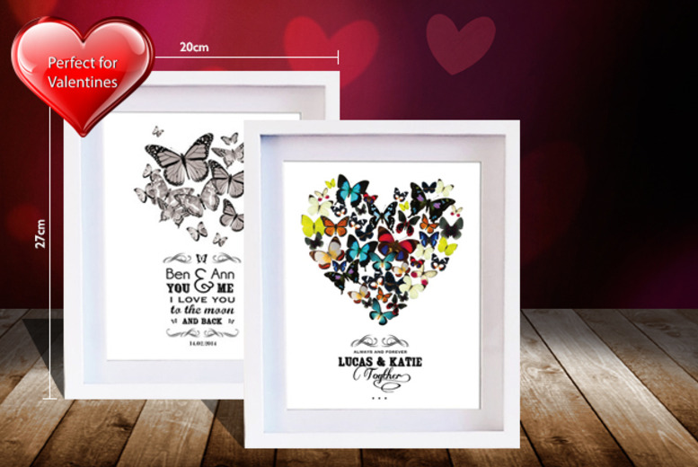 £13.99 instead of £32 (from Treasure On The Wall) for a framed personalised butterfly Valentine's print - save 56%