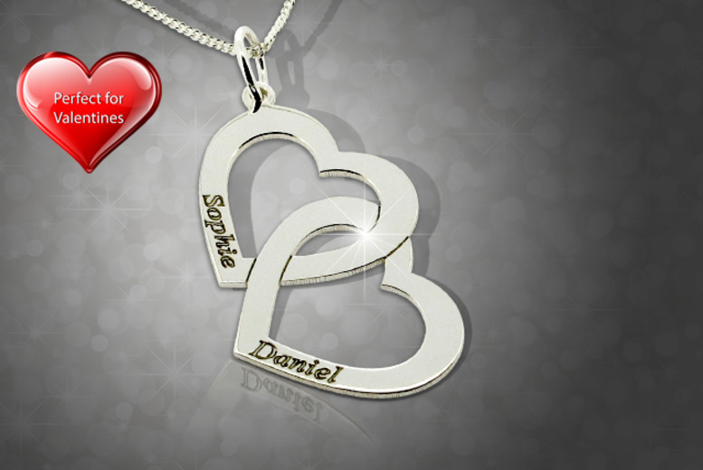 £19.99 instead of £39.99 (from Name Necklaces Direct) for a sterling silver personalised double heart pendant - save 50%