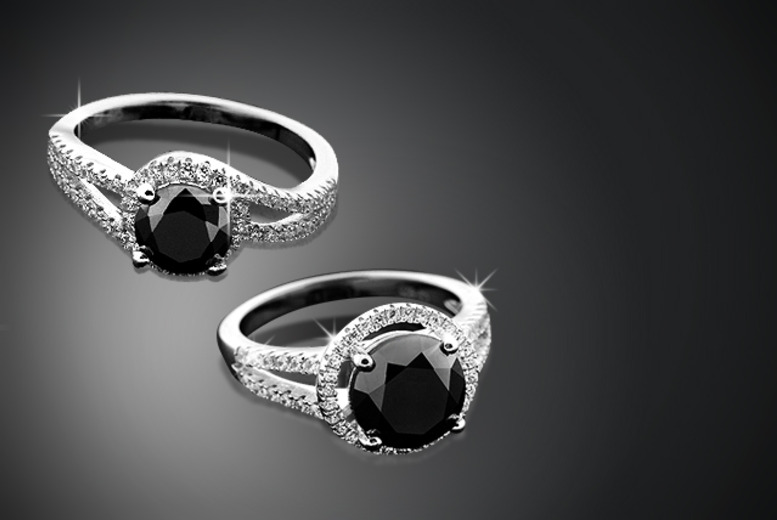 £99 instead of £499.99 (from British Gem) for a 1 carat black diamond ring in a twist or halo design - save 80%
