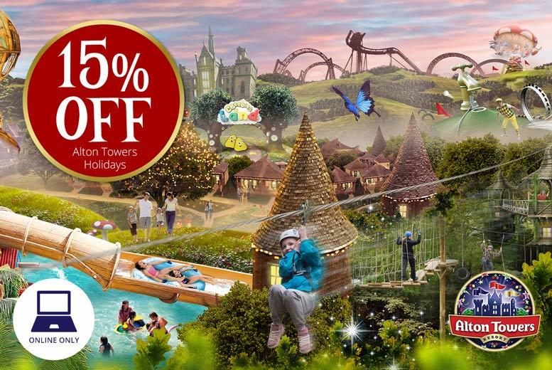 £1 for 15% off an Alton Towers one-night break with two-day park entry and breakfast from Holiday Extras - includes Alton Towers Hotel and Splash Landings Hotel