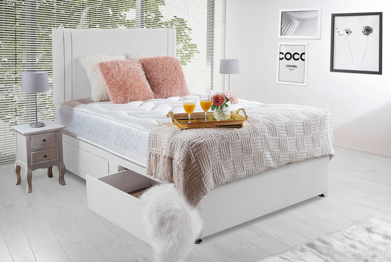 From £149 (from Komfet) for a white suede orthopaedic divan bed with optional drawers
