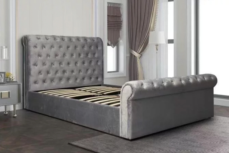 Suede Grey Sleigh Bed With Side Lift Storage – 6 Sizes! (£299)