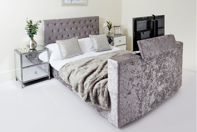 From £329 (from Abreo) for a velvet Chesterfield TV bed – choose from three sizes!