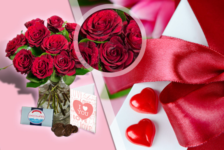 £24.99 instead of £59.90 (from iFlorist) for a bouquet of red roses, box of chocolates & a personalised Valentine's card - save 58%