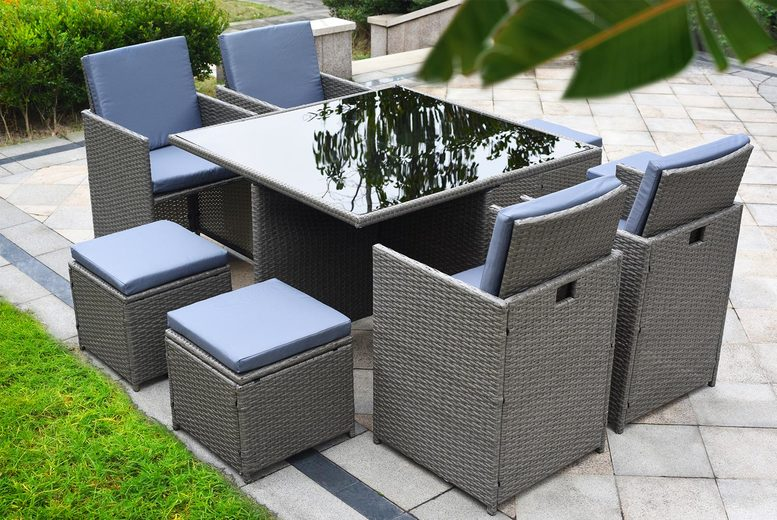 Monument 9pc Cube Rattan Garden Furniture Set – 3 Colours! (£289)