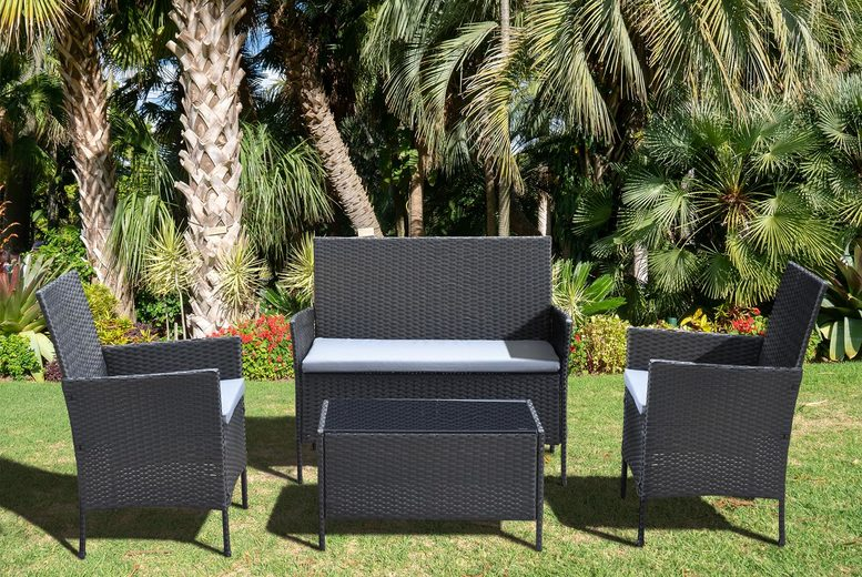 Marleybone 4pc Rattan Garden Furniture Set – 3 Colours! (£99)