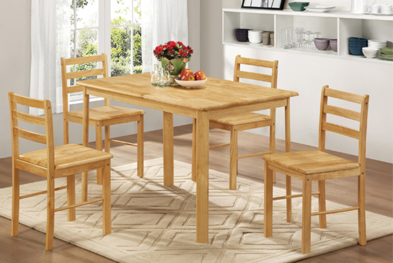 £109 instead of £339.99 (from Groundlevel.co.uk) for an oak veneer dining table and 4 chairs - save 68% + DELIVERY IS INCLUDED!