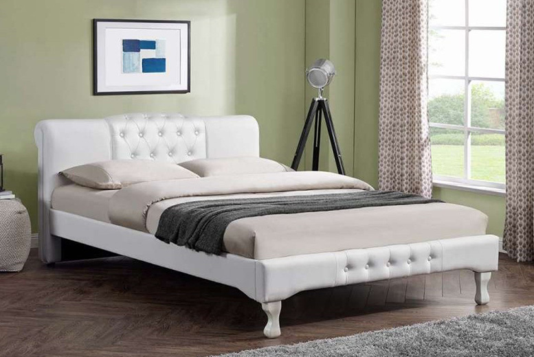 From £199 instead of £870 (from Envisage Home) for a Snowdon button upholstery white bed or from £399 instead of £17699.99 to include a mattress – choose between two sizes and save up to 77%