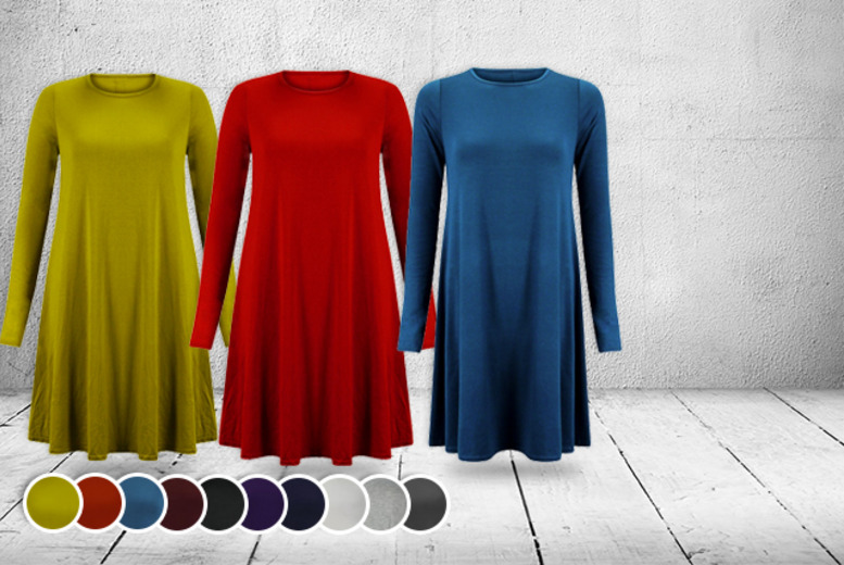 £8.99 instead of £18.99 (from Something About Fashion) for a long-sleeved swing dress in a choice of 10 colours - save 53%