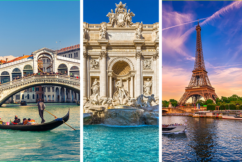 From £249pp (from Weekender Breaks) for a six-night Venice, Rome and Paris holiday with internal transfers and return flights, from £299pp for nine nights - save up to 42% from Weekender Breaks