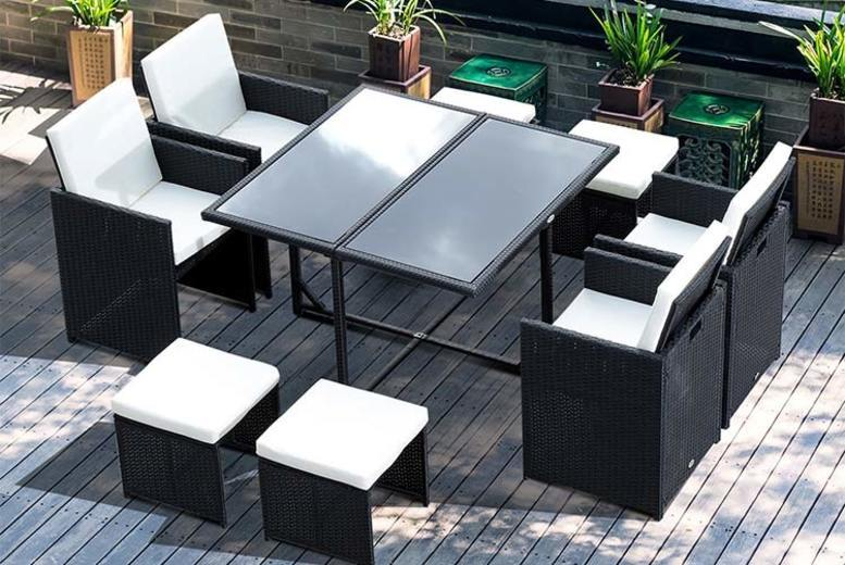 9pc Highback Rattan Garden Furniture Set (£289)