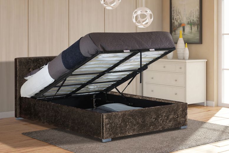 From £130 (from UK Furniture4U) for a crushed velvet Nicola Ottoman bed frame or £220 for a crushed velvet Nicola Ottoman bed with mattress and size options