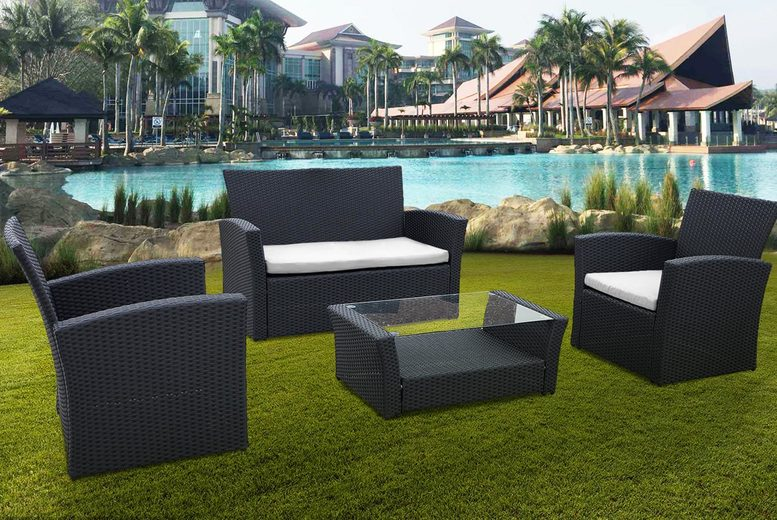 4-Piece Rattan Furniture Set – 3 Colours! (£159)