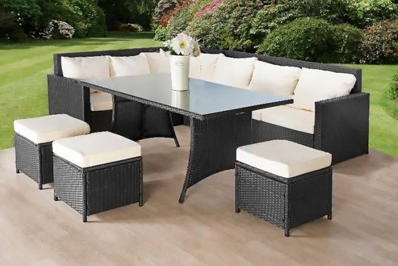 9-Seater Rattan Sofa & Stool Garden Furniture Set – 2 Colours! (£449)