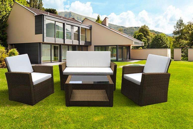 Florence 4pc Rattan Outdoor Garden Sofa Set (£199)