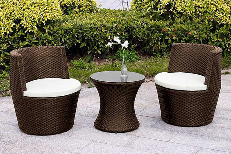 3pc Vase Rattan Dining Furniture Set – 2 Colours! (£119)