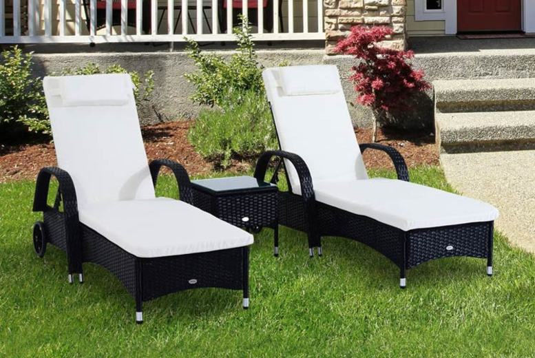 3pc Waterproof Rattan Sun Lounger & Table Set – 3 Colours! (£219)