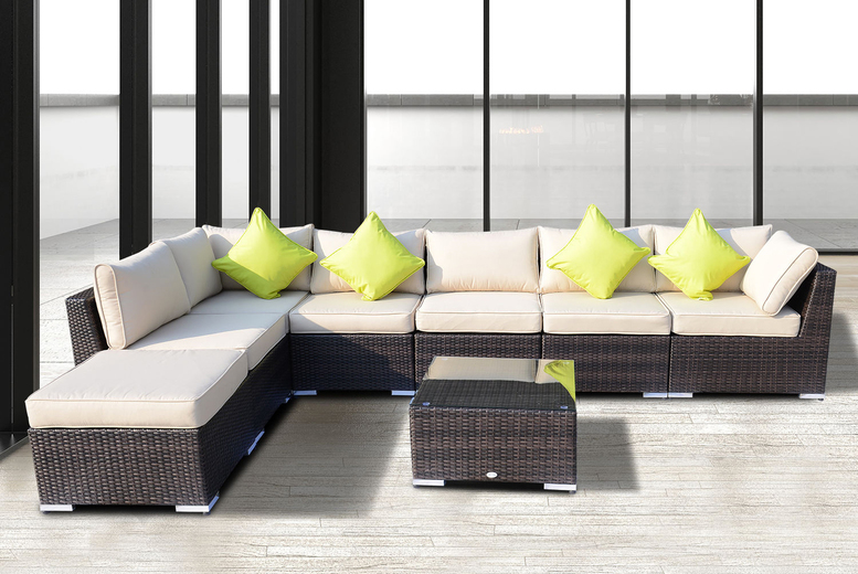8pc Outsunny Rattan Sofa Set with Cushions – 2 Colours! (£679)