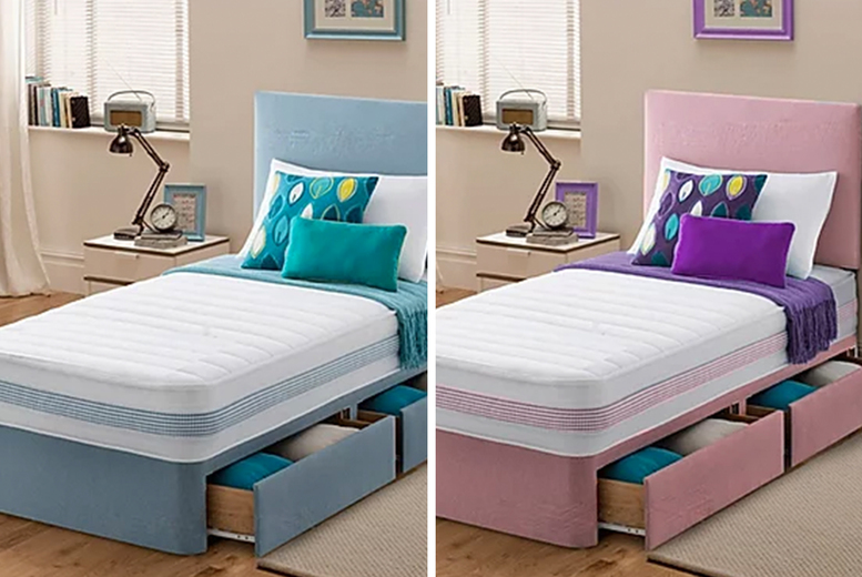 £129 instead of £300 (from Sleepyn) for a luxury single divan bed and mattress or £149 with drawers – choose your colour and save up to 57%
