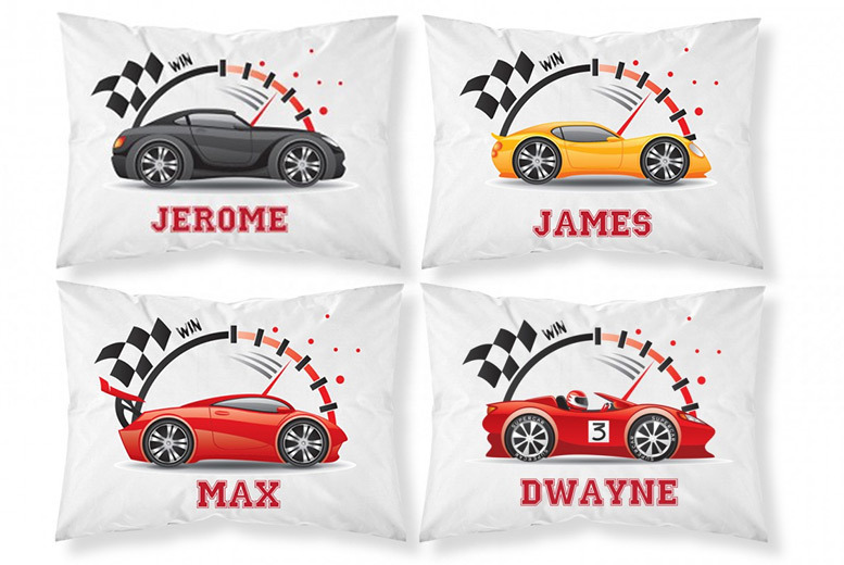 £3.99 (from Personalised Gifts Market) for a personalised racing car pillowcase