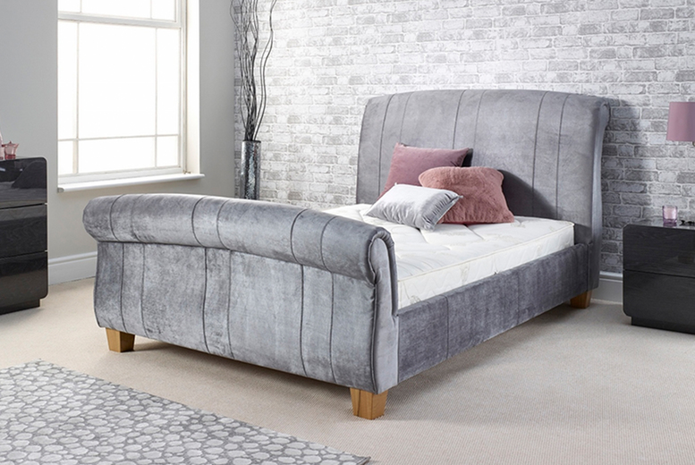 £299 instead of £439.99 (from FTA Furnishing) for a grey velvet fabric double sleigh bed, £399 to include a 6″ memory foam mattress, and £479 to include a 10″ soft memory foam mattress – save up to 32%