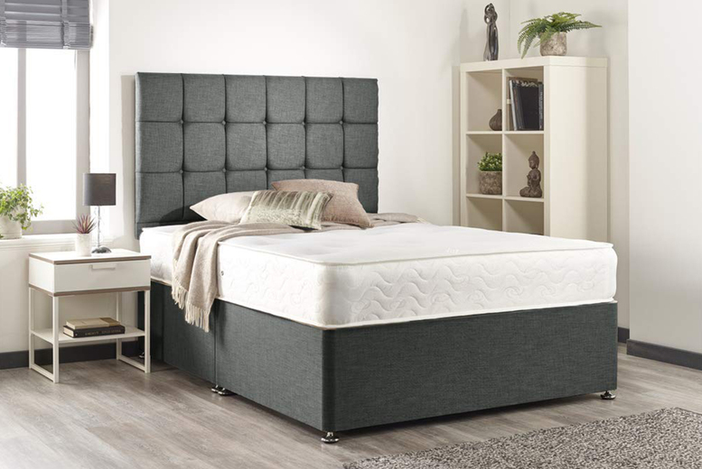 From £79 (from Beds Divans) for a grey linen divan bed with mattress and diamante headboard – choose from four sizes