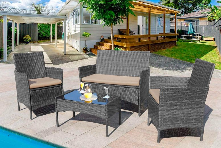 4pc Rattan Garden Furniture Set – 3 Colours! (£99)