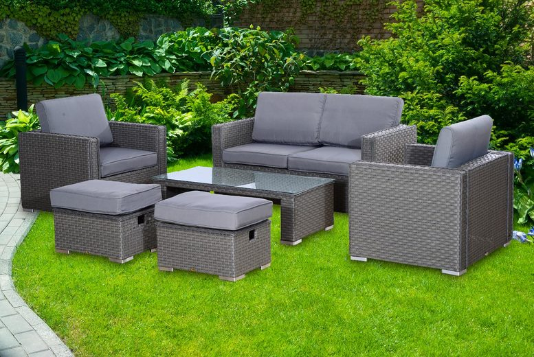 6pc Grey Rattan Garden Furniture Set (£529)