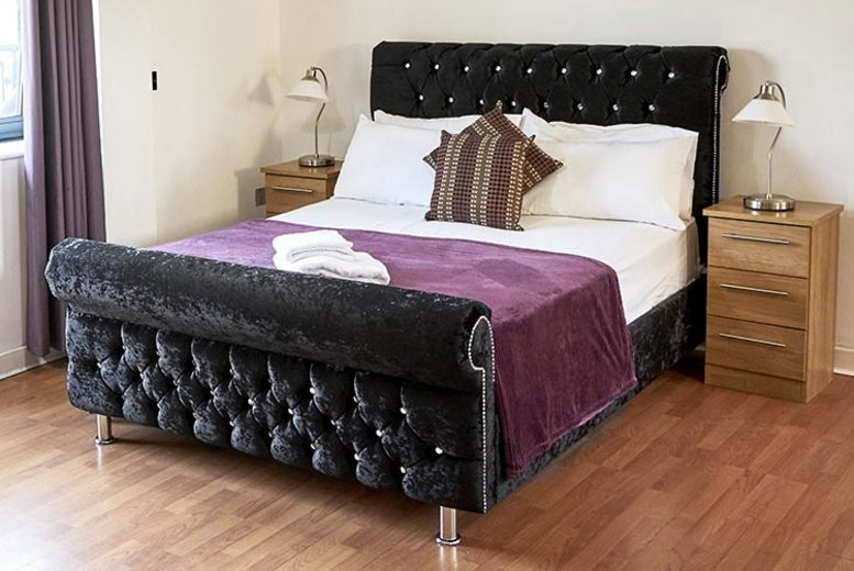 From £199 (from Moonbeds) for a Windsor chesterfield crushed velvet sleigh bed – choose from seven colours and five sizes and  save up to 78%