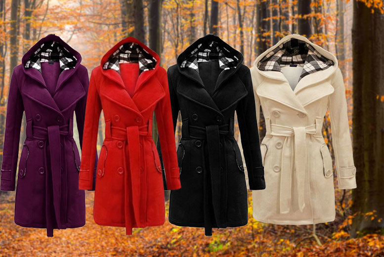 £22 instead of £76 (from EFMall) for a women's hooded trench coat - choose from four colours and save 71%