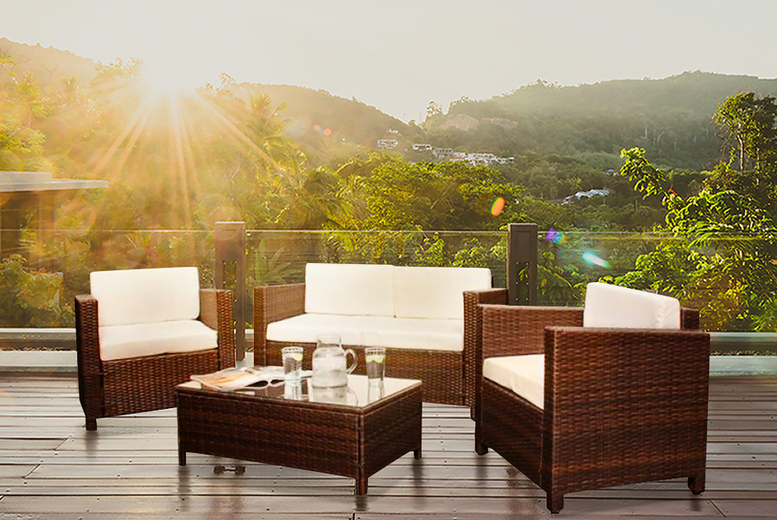 4pc Rattan Lounge Set w/ Optional Cover – 4 Colours! (£259)