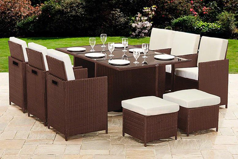 10-Seater Cube Rattan Garden Furniture Set – 2 Colours! (£429)