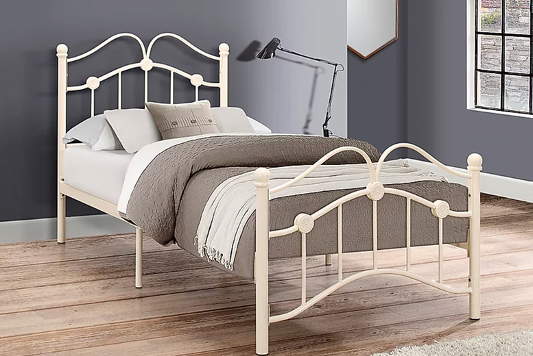 £99 (from FTA Furnishing) for a single cream children's metal bed frame