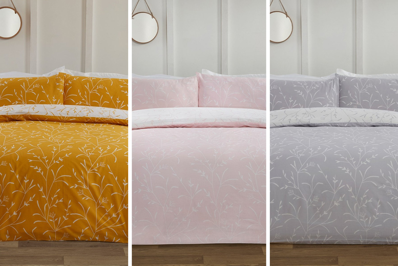 £11 (from FiveMinutesMore) for a single twiggy flowers duvet cover set with sizing options!