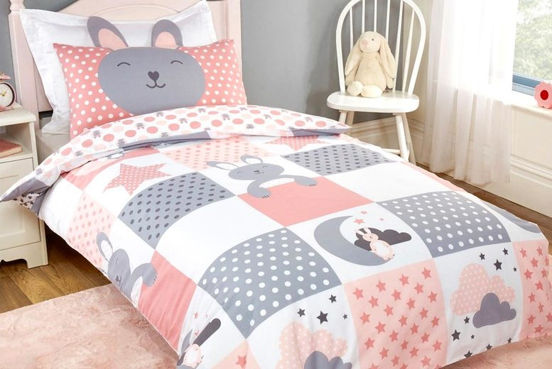 £12 (from Five Minutes More) for a toddler's single duvet cover set or £13 for a junior single duvet set!