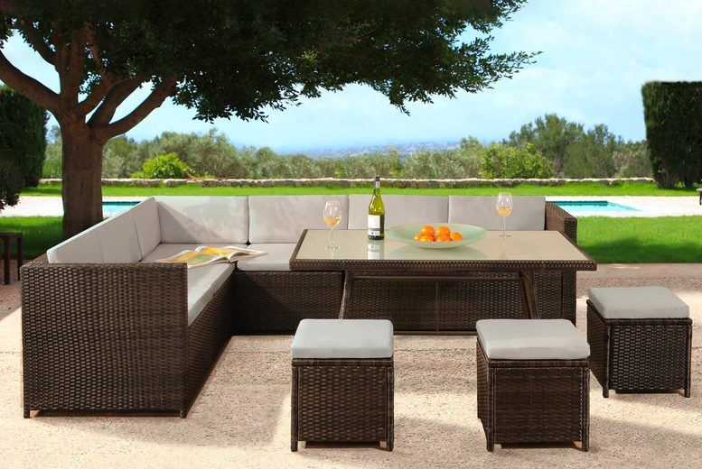 Maine 9-Seat Rattan Dining Set with Optional Cover – 7 Colours! (£539)