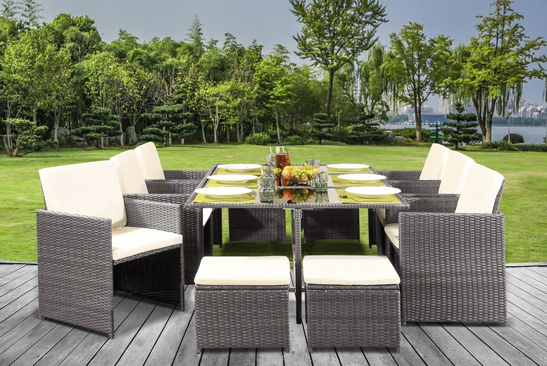 11pc Cube Rattan Dining Set with Optional Cover – 5 Colours! (£439)
