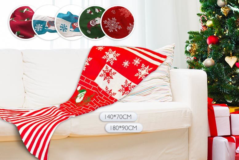 From £12.99 instead of £66 (from EFMall) for a Christmas mermaid tail blanket - choose from six designs and save up to 80%