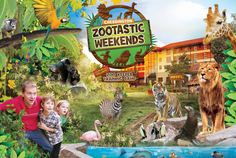 From £119 for an overnight 'Zootastic' weekend for a family of up to four with two-day entry to Chessington Zoo and SEA LIFE centre - save up to 25%