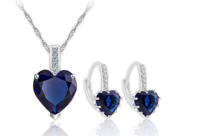 £29 instead of £549 (from Your Ideal Gift) for a 10K white-gold plated sapphire pendant and earring set - choose from pink, clear and blue and save 95%