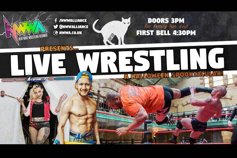 £9 instead of £30 for a Halloween family ticket to see a live match of 'Nine Lives' from New Wave Wrestling Alliance on the 29th October at Victoria Baths - save 70%