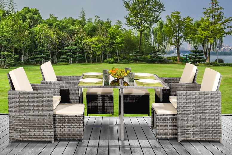 9 Piece Rattan Dining Set with Optional Cover – 5 Colours! (£319)