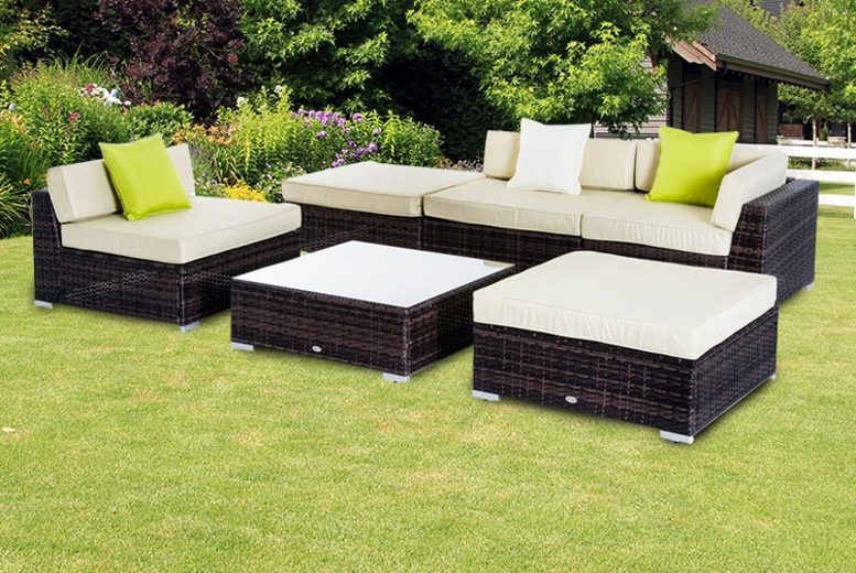 6pc Brown & Beige Rattan Garden Furniture Set (£399)