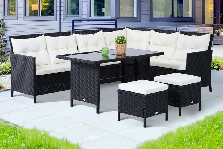 6pc Black & White Rattan Garden Furniture Set (£429)