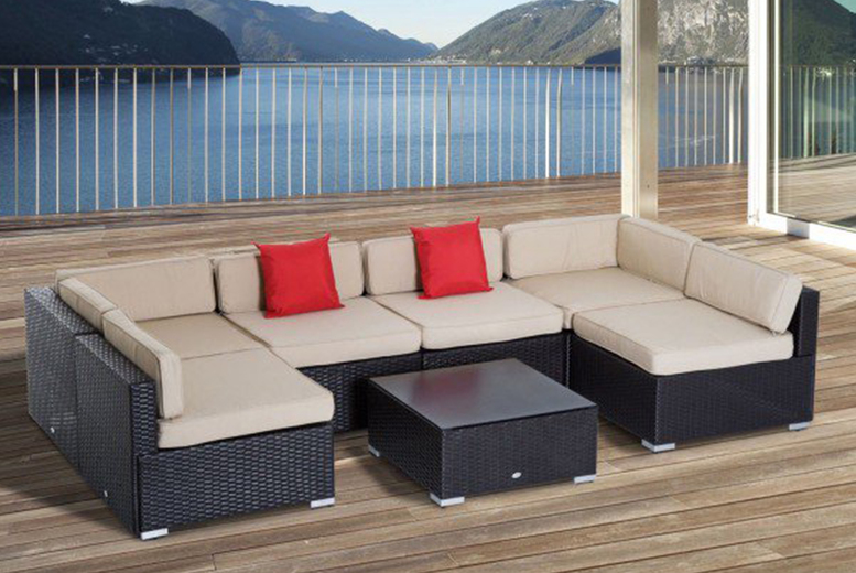 7pc Dark Brown Rattan Garden Furniture Set (£449)