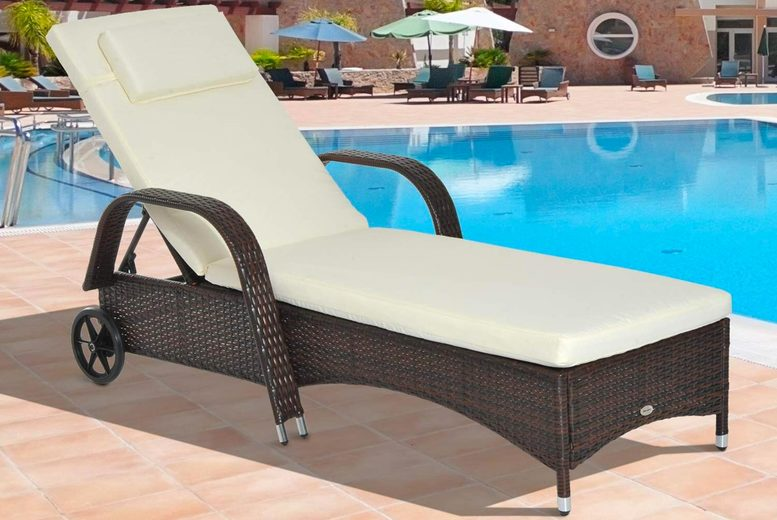 Adjustable Rattan Sun Lounger – 3 Colours! (£99)