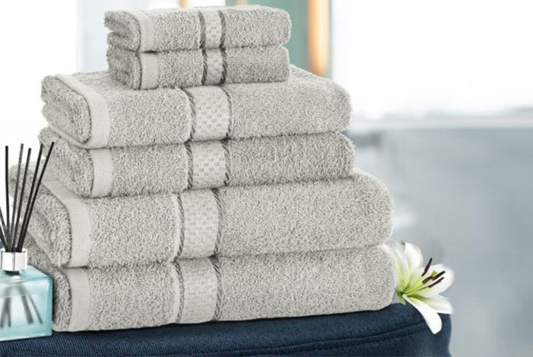 £7.99 instead of £34.99 (from Fusion Homeware) for a six piece grey Egyptian cotton towel bale set – save 77%