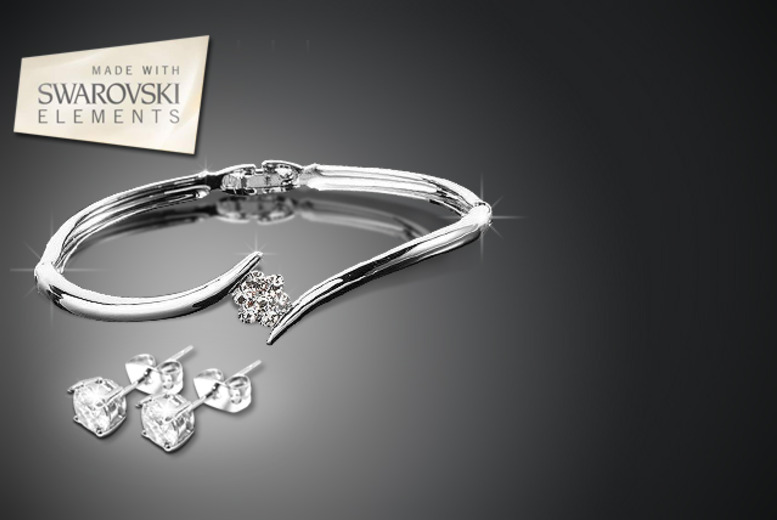 £10 instead of £59.95 (from Simply 18k) for a Swarovski Elements flower bangle, or £12 for the bangle and earring set - save up to 83%